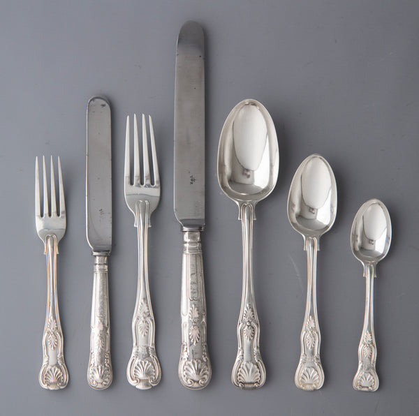 An Early Victorian 12 Place Silver Kings Pattern Canteen by George Adams