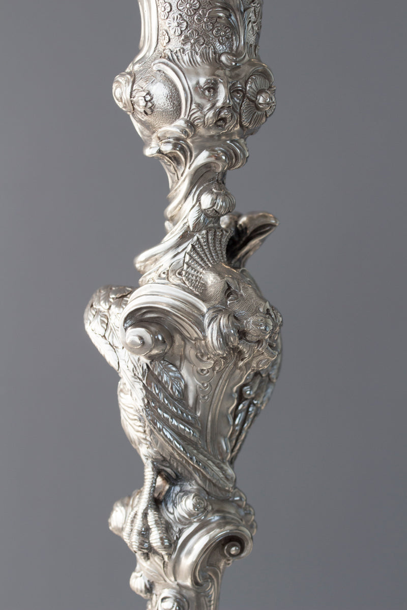 An Impressive Pair of Cast Silver Four-Light Candelabra, London 1812 by William Pitts
