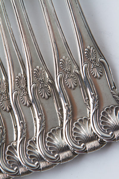 A Very Fine Set of 12 Kings Pattern Silver Table Forks & Dessert Forks by William Eaton, London 1828
