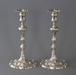 A Superb Pair of Georgian Cast Silver Candlesticks by Ebenezer Coker London 1763