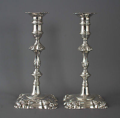 A Superb Pair of George II Cast Silver Candlesticks by John Cafe London 1754