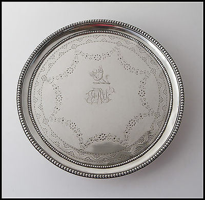 An 18C Georgian Irish Silver Card Tray or Waiter, Dublin by Joseph Jackson