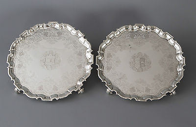 A Very Fine Pair of George II Silver Salvers London 1733 by Denis Langton