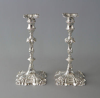 A Superb Pair of George II Cast Silver Candlesticks by William Cafe London 1757