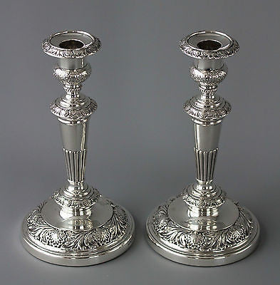 A Very Good Pair of Georgian Silver Table Candlesticks Sheffield 1820 by Smith, Tate, Hoult and Tate