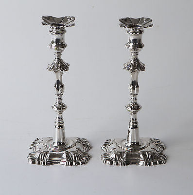 A Superb Pair of George III Cast Silver Candlesticks London 1772, by John Arnell