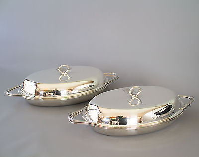 A Very Fine Pair of William IV Silver Entree Dishes London 1833 by the Barnards