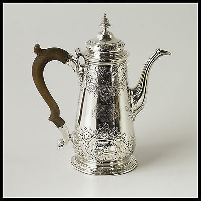 A George II Silver Coffee Pot by Ayme Videau, London 1749.