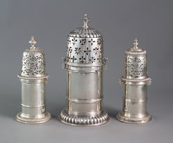 A rare matched set of three late 17th Century Casters