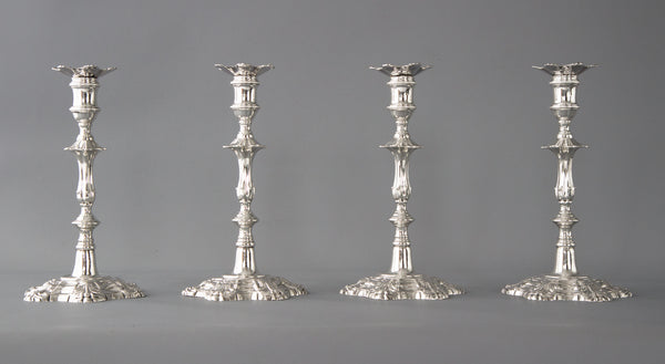 An Exceptional Set of Four Cast Silver Table Candlesticks, William Cafe, London 1762