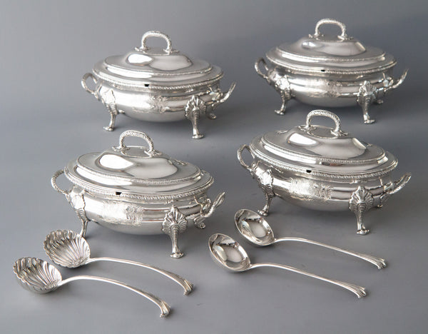 Political interest - An Exquisite Set George III Silver Sauce Tureens, Le Sage, London 1774