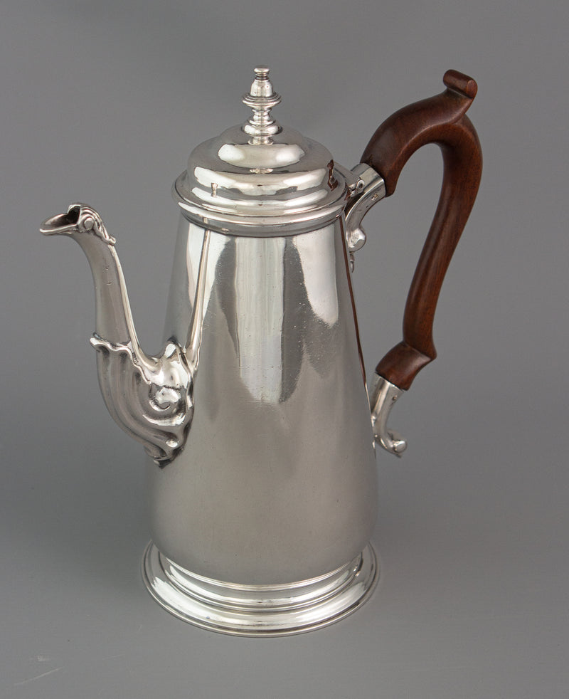 A George II silver coffee pot, London 1735 by Augustin Courtauld
