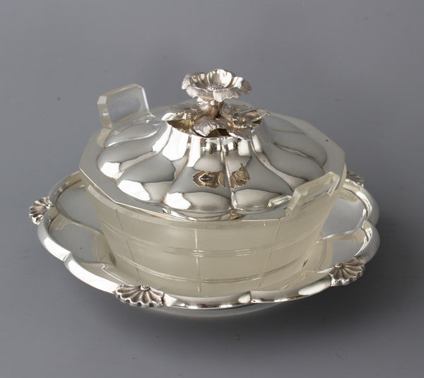 A William IV Silver and Cut Glass Butter Dish