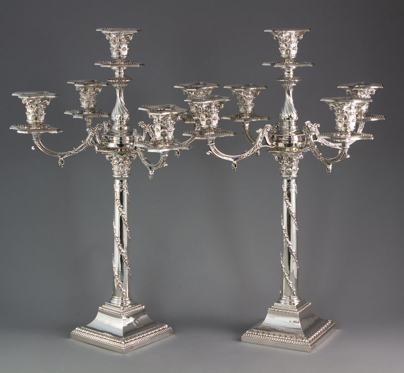An Impressive Pair of Five Light Victorian Silver Candelabra Sheffield 1894