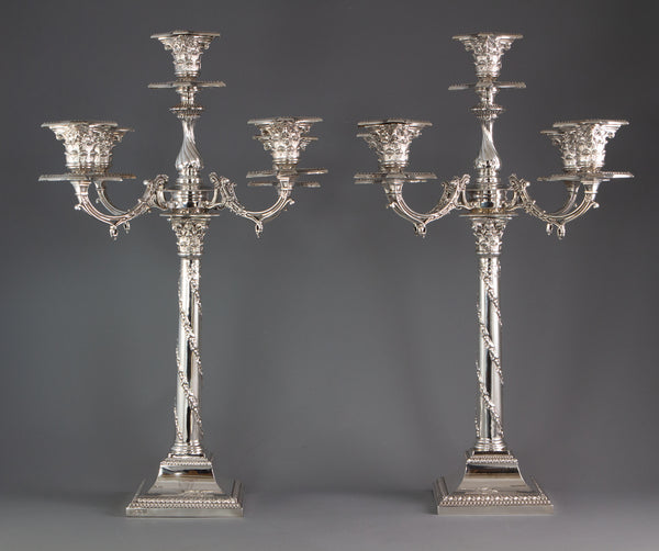 A Pair of Five Light Victorian Silver Candelabra Sheffield 1894 by Walker and Hall
