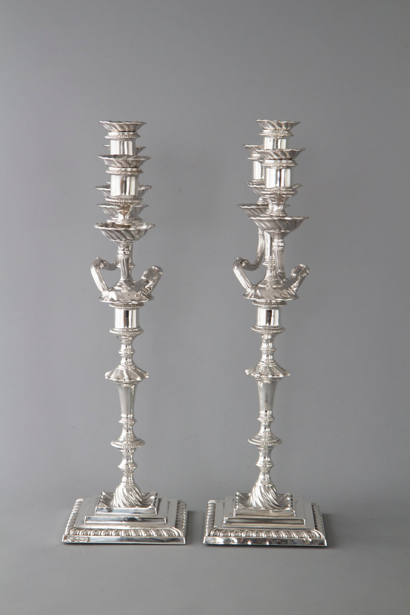 A Superb Pair of Victorian Silver Three Light Candelabra Sheffield 1894 by Hawksworth and Eyre