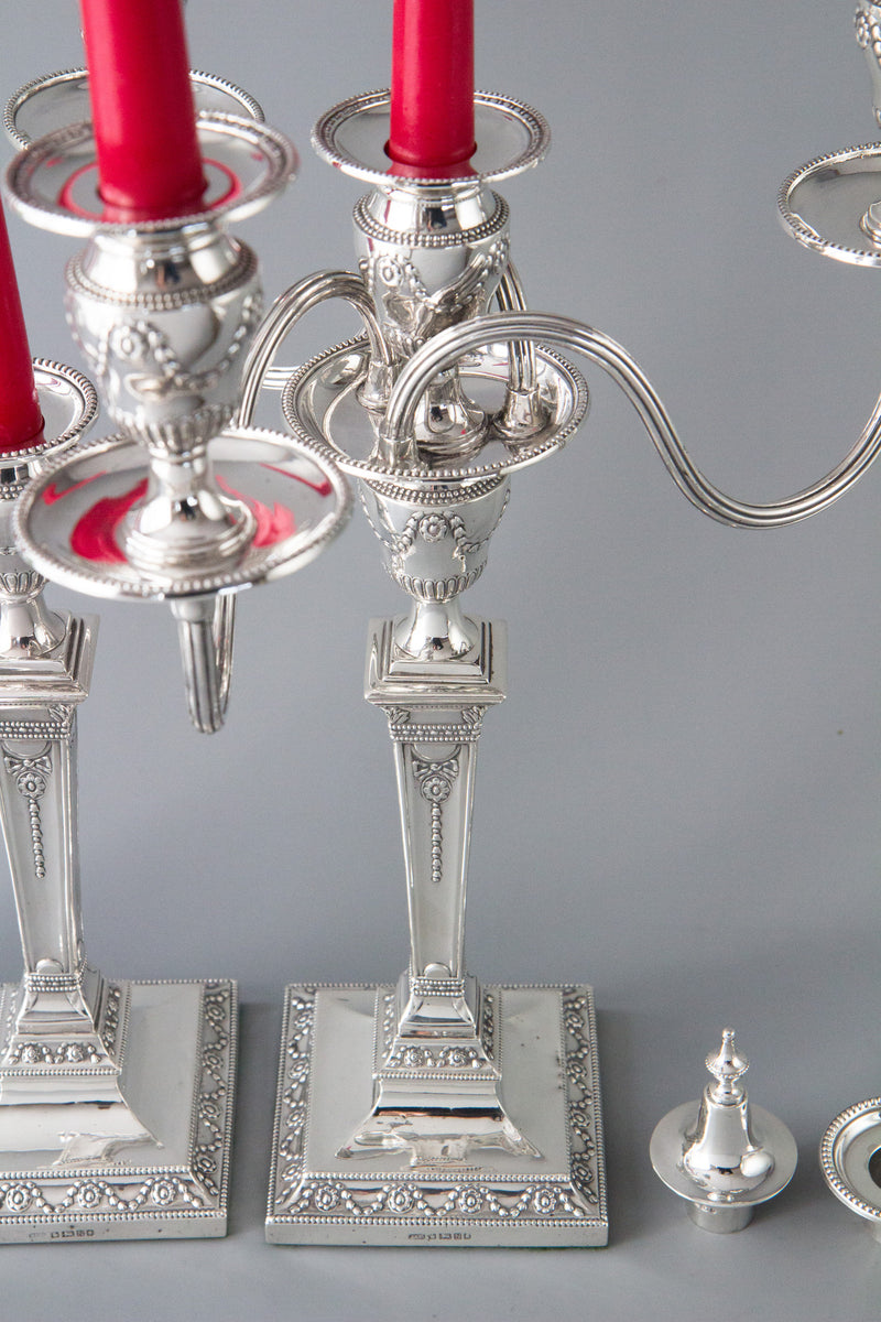 An Exceptional Set of Four Victorian Silver Candlesticks and Candelabra Sheffield 1880, Hawksworth and Eyre