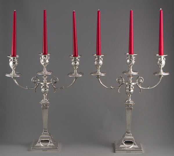 A Very Fine Pair of Silver Three Light  Victorian Candelabra Sheffield 1898
