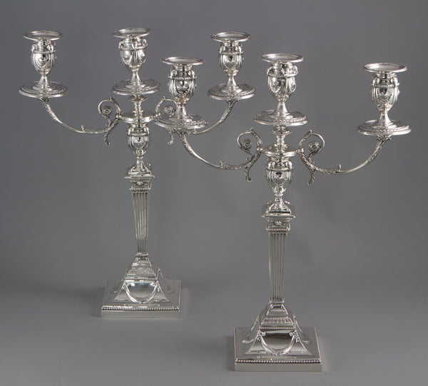 A Pair of Silver Three Light  Victorian Candelabra Sheffield 1898 by Walker and Hall