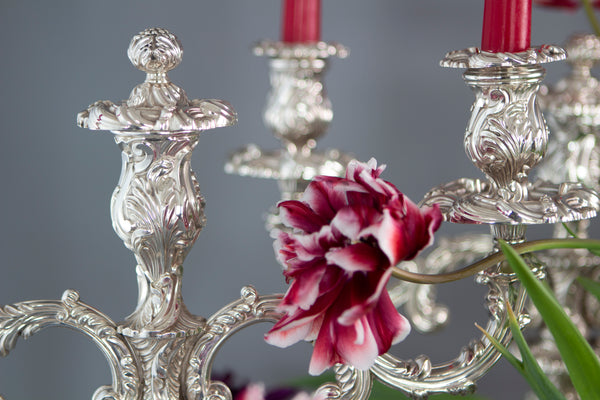 A Superb George IV Silver 3-Light Candelabra and Candlesticks Table Suite