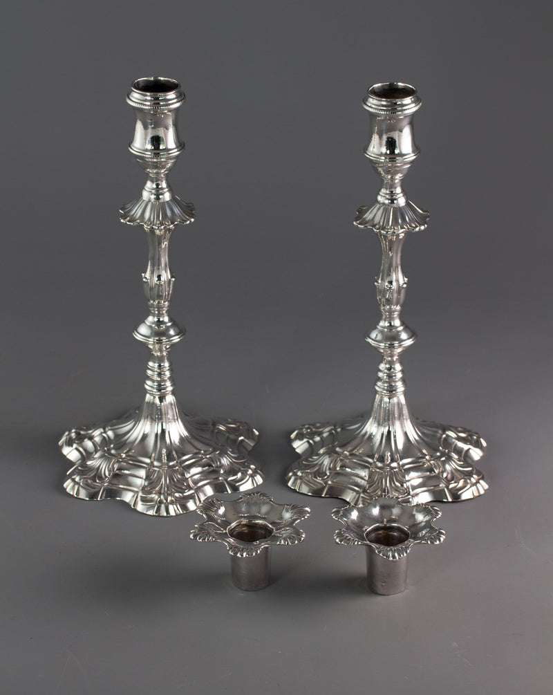 A Pair of George III Cast Silver Candlesticks, London 1763 by William Cafe