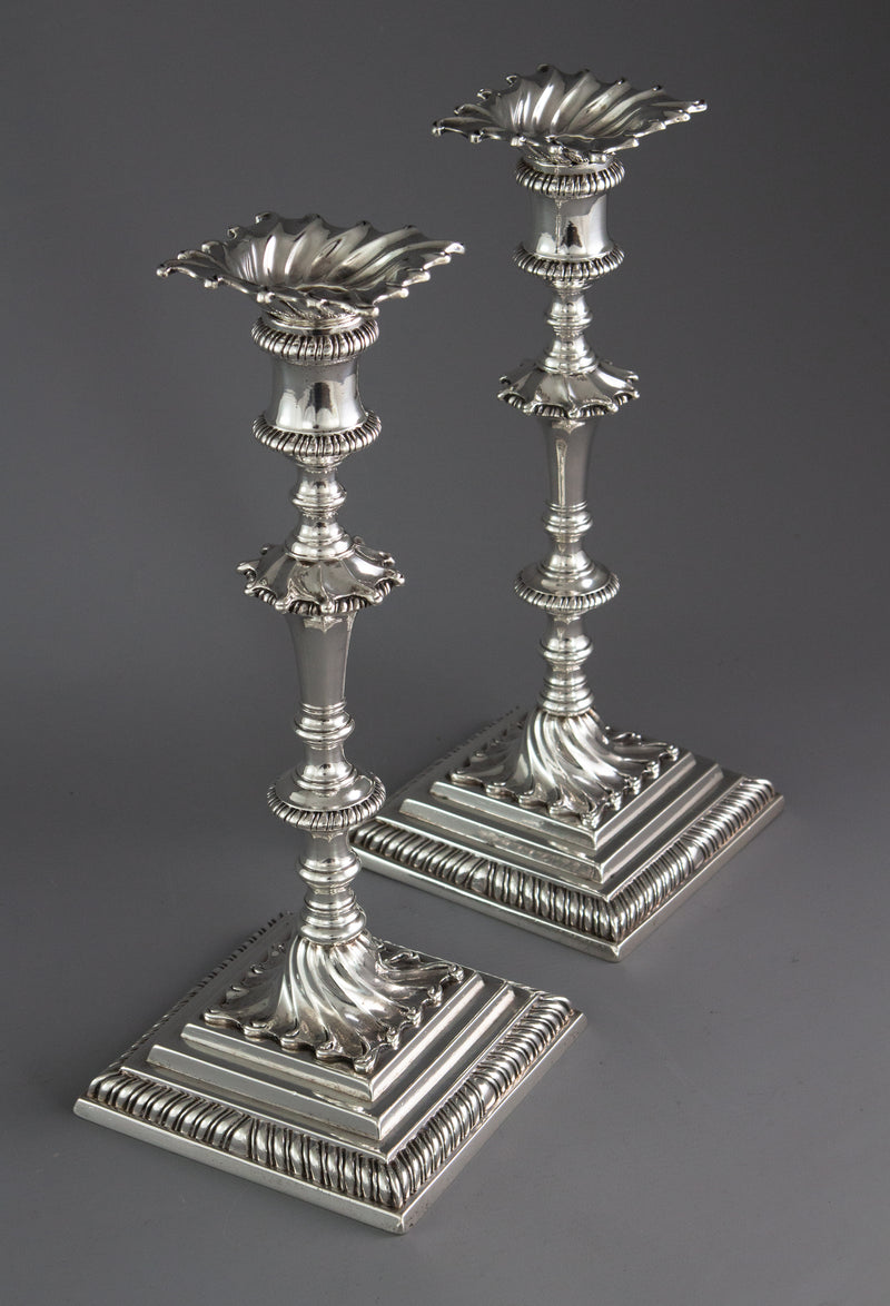 A Superb Pair of Georgian Silver Candlesticks London 1766/7 by Ebenezer Coker