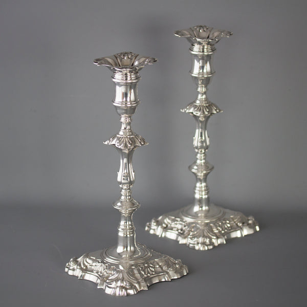 A Very Fine Pair of Georgian Cast Silver Candlesticks by John Cafe London 1757