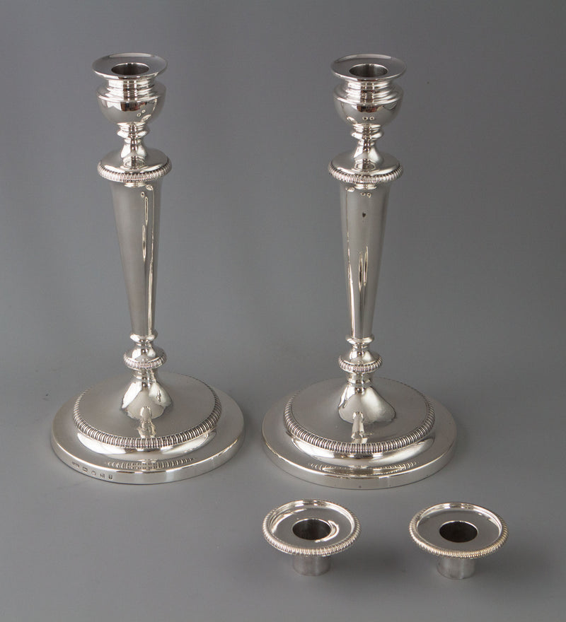 A Very Fine Pair of George III Silver Candlesticks Sheffield 1805