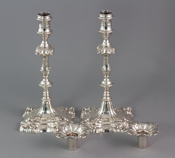 A Superb pair of George III Cast Silver Candlesticks by Ebenezer Coker, London 1764