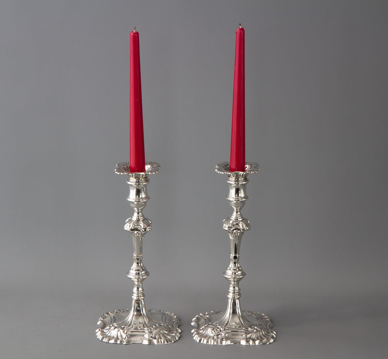 A Very Fine Pair of Cast Silver Candlesticks, William Cripps, 1759