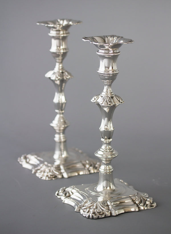 A Very Good Pair of Georgian Cast Silver Candlesticks, London 1752 by William Grundy