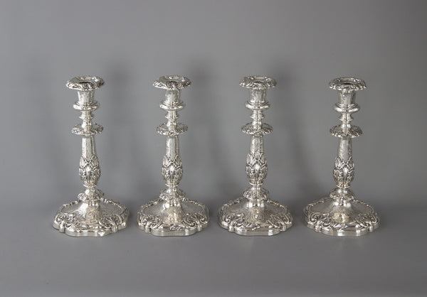 A Good Set of Four Early Victorian Silver Candlesticks Sheffield 1841 and 1848
