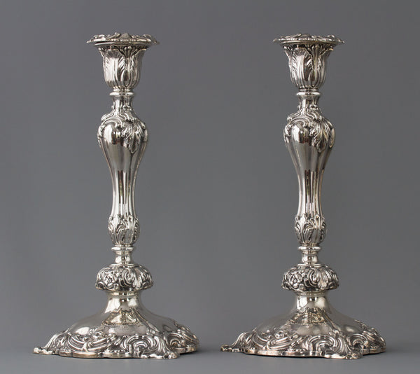 A Very Good Pair of Victorian Silver Candlesticks Sheffield 1847 by T.J. and N.Creswick