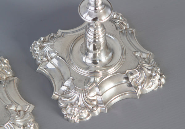 A superb pair of Cast George III Silver Candlesticks, London 1762 by William Cafe