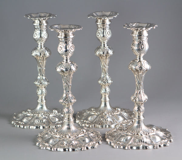 A Set of Four Cast Silver Candlesticks London 1749 by William Gould