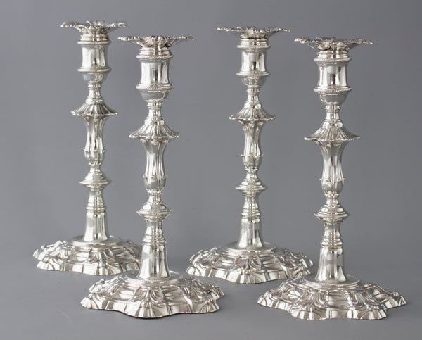 An Exceptional Set of Four Silver Candlesticks London 1757 by William Cafe