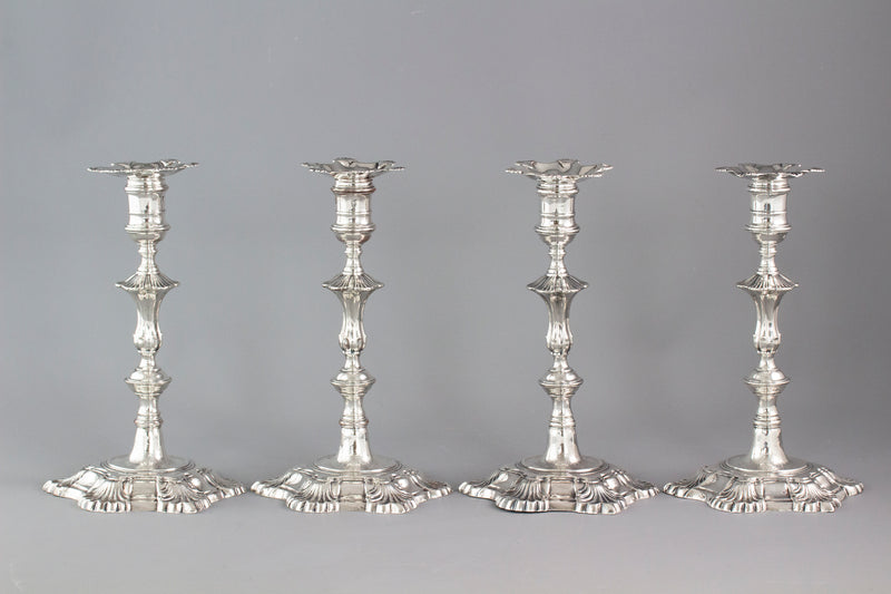 A Very Fine Set of Cast Silver Candlesticks by John Cafe London 1750