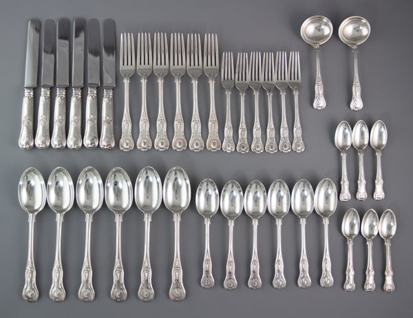 A Very Fine Set of Victorian Silver Kings Pattern Cutlery, Francis Higgins London 1895