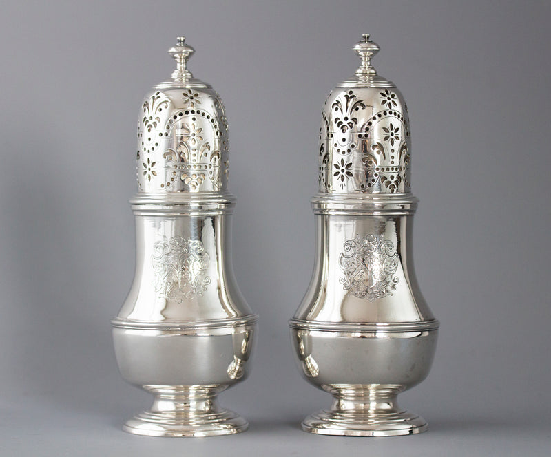 A Pair of George I Silver Casters London 1723 by Thomas Bamford