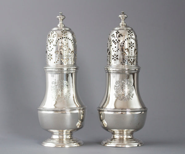 A Superb Pair of George I Silver Casters London 1723 by Thomas Bamford