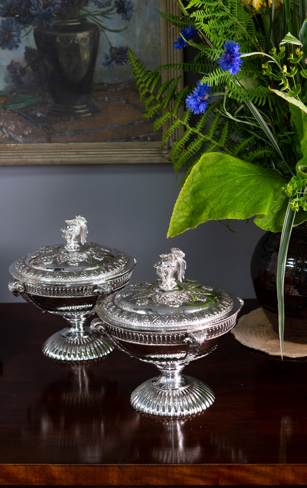 A Very Fine Pair of Silver Tureens or Serving Dishes London 1868