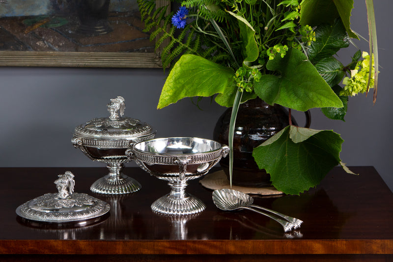 A Very Fine Pair of Silver Tureens or Serving Dishes London 1868 by Robert Harper