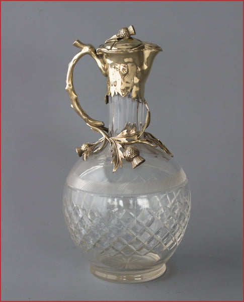 A Superior Late Victorian Silver Gilt Claret Jug  London 1894