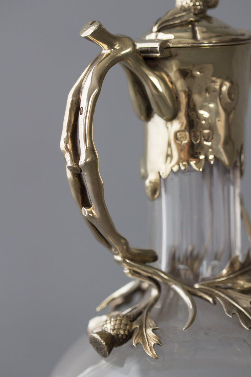 A Victorian Silver Gilt Claret Jug / Wine Decanter, London 1894 by William Thornhill & Co