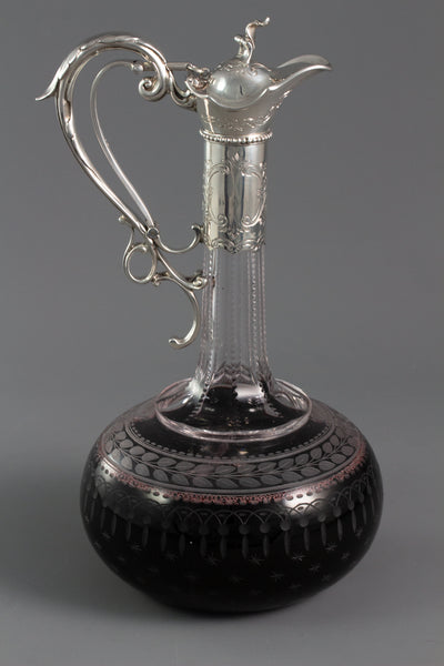 A Superb Victorian Silver Mounted Cut Glass Claret Jug / Wine Decanter London 1869