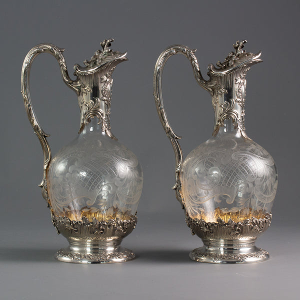 An Exceptional Pair of Late 19th Century French Silver and Crystal Claret Jugs