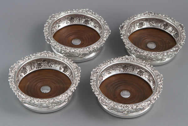 A Very Good set of Four George IV Silver Wine Coasters Sheffield 1828 by S.C.Younge and Co
