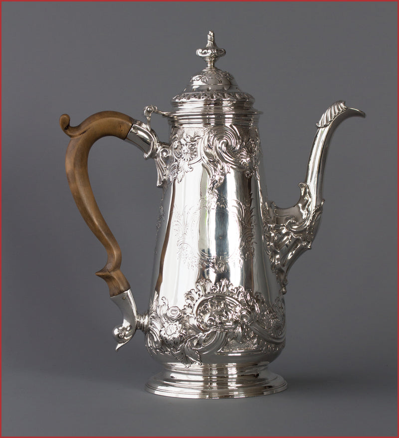 A George II Silver Coffee Pot by Samuel Courtauld, London 1752