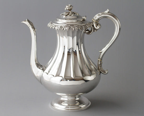 A Victorian Silver Coffee Pot by Martin, Hall & Co, Sheffield 1868