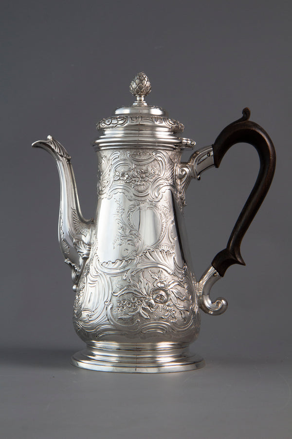 A George II Silver Coffee Pot London 1743 by Gabriel Sleath